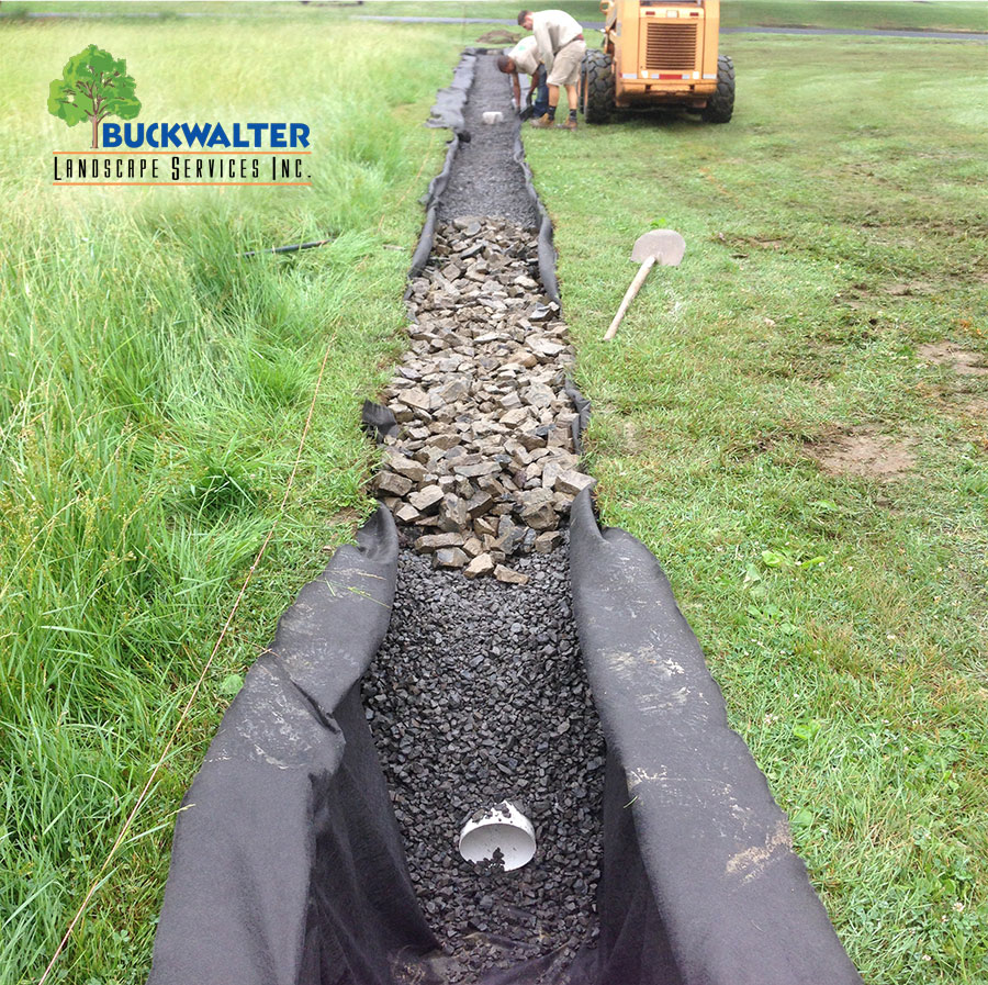 French Drain installation by Buckwalter Landscape Services